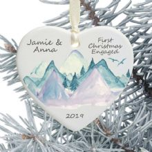 First Christmas Engaged Heart Christmas Tree Decoration - Mountains Design